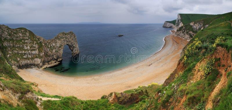 Durdle Door panorama - Dorset, England royalty free stock photos