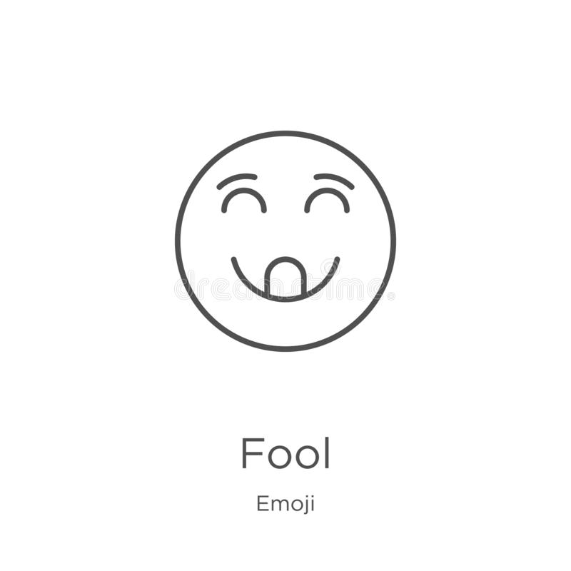 dureń ikony wektor od emoji kolekcji Cienka kreskowa durnia konturu ikony wektoru ilustracja Kontur, cienka kreskowa dureń ikona  ilustracji
