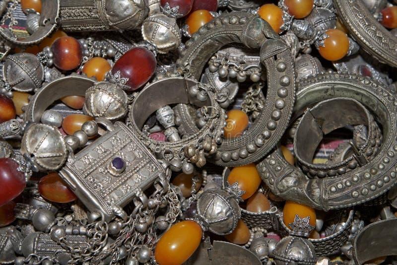 Dure Antieke, Arabische, Bedouin juwellery. stock afbeelding