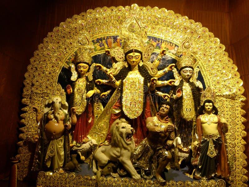 Durga di Maa in un pandal immagine stock libera da diritti