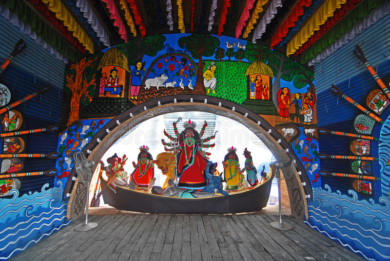 Durga Festival of Kolkata. October 19, 2012 Kolkata, West Bengal, India, Asia-Durga Puja Festival is the biggest festival among Bengalis. As Calcutta is the stock photos