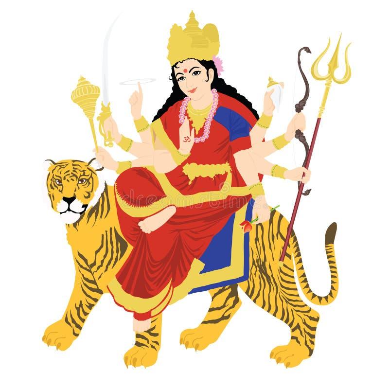 Durga goddess. Statue of Goddess Durga on tiger vector illustration