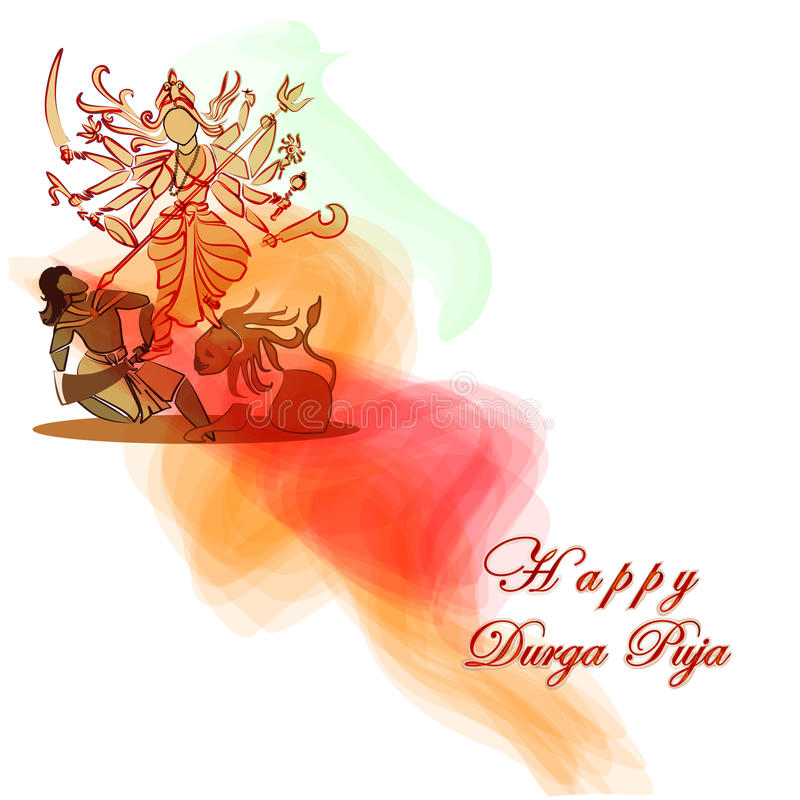 Durga Hindu goddess with Asura in celebration of Durga puja. Dessehra,Nevaratri.Vector. Eps10 royalty free illustration
