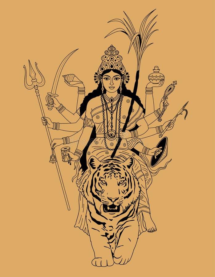 Durga indiano da deusa ilustração do vetor