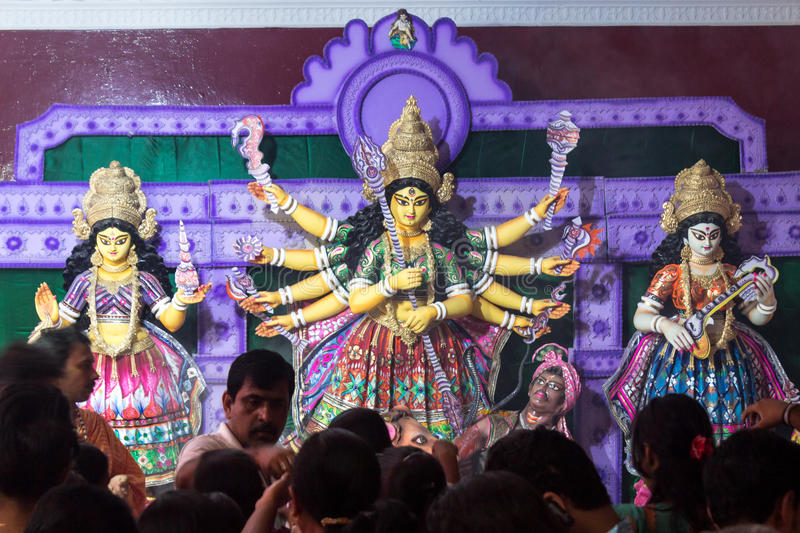 Durga Pooja, Hindu God India. Durga pooja or Dussehra festival is celebrated with the worship of decorated idols of goddess durga mata in the temples of Hindu royalty free stock images