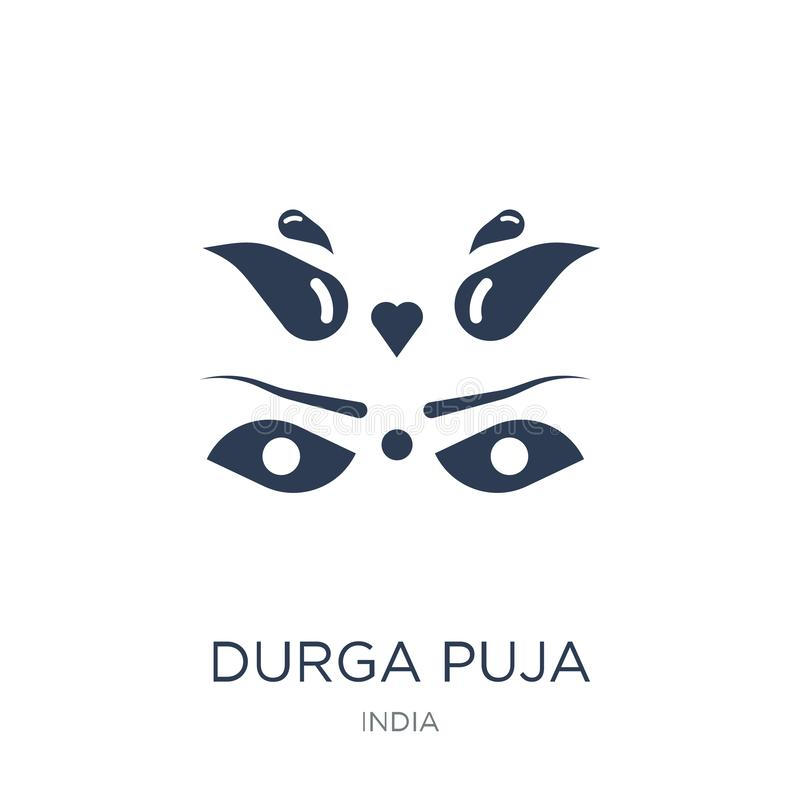 durga puja象 在白色bac的时髦平的传染媒介durga puja象 皇族释放例证