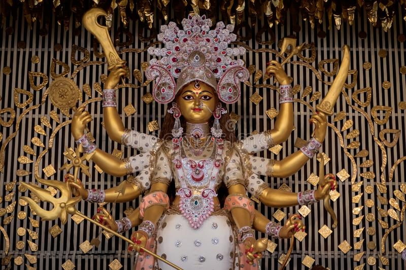 Durga Puja, also called Durgotsava, is an annual Hindu festival in the Indian subcontinent that reveres the goddess Durga. Decorated kumortuli, Kolkata, India stock photo