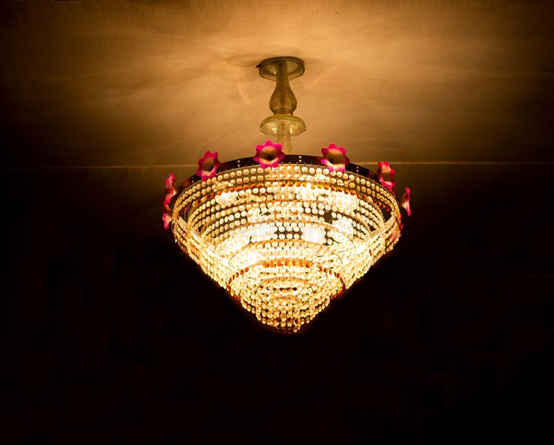 during durga puja a beautiful chandilier stock photography