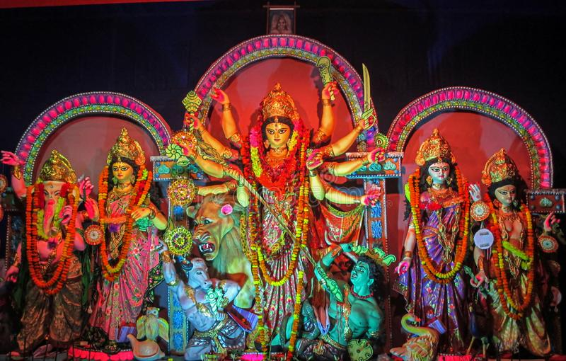 Idols of Hindu Goddess Maa Durga with her childrens during the Durga Puja festival royalty free stock photography