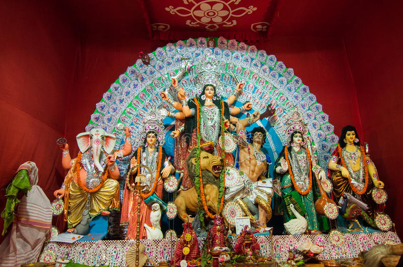 Durga Puja festival i Kolkata, Indien arkivfoton