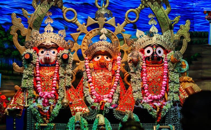 Durgapur, West Bengal, India. July 2018. Idols of Jagannath Balaram Suvadra at Rath Yatra Festival during Night. Rath Yatra is a v. Ery famous Hindu festival royalty free stock image