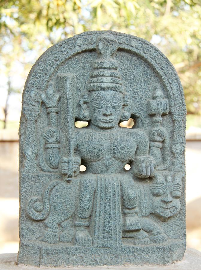 Durgi Devi石头露天博物馆在亨比,印度 免版税库存照片