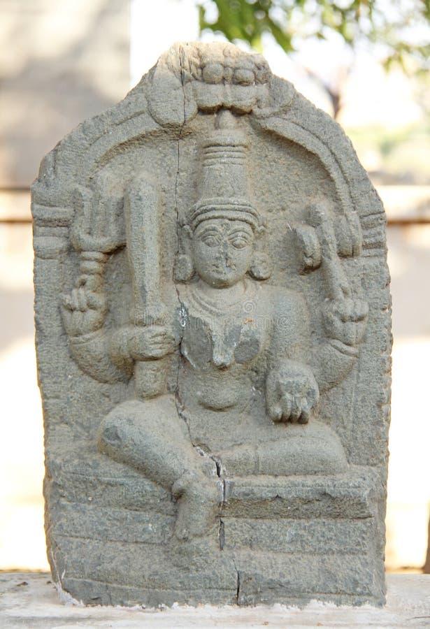 Durgi Devi kamień w na otwartym powietrzu muzeum w Hampi, India obraz stock