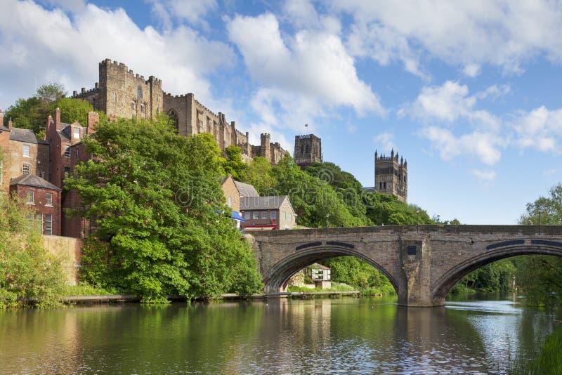 Durham Castle and Cathedral Framwellgate Bridge England stock photo
