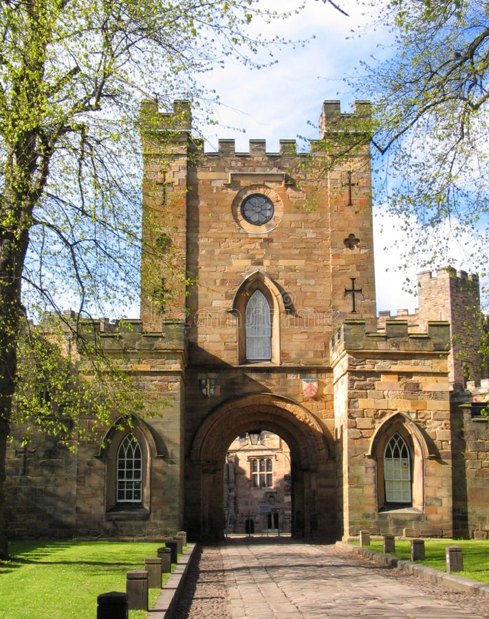Durham Castle. The main entrance to Durham Castle which serves as a Halls of Residence for students at Durham University royalty free stock photography