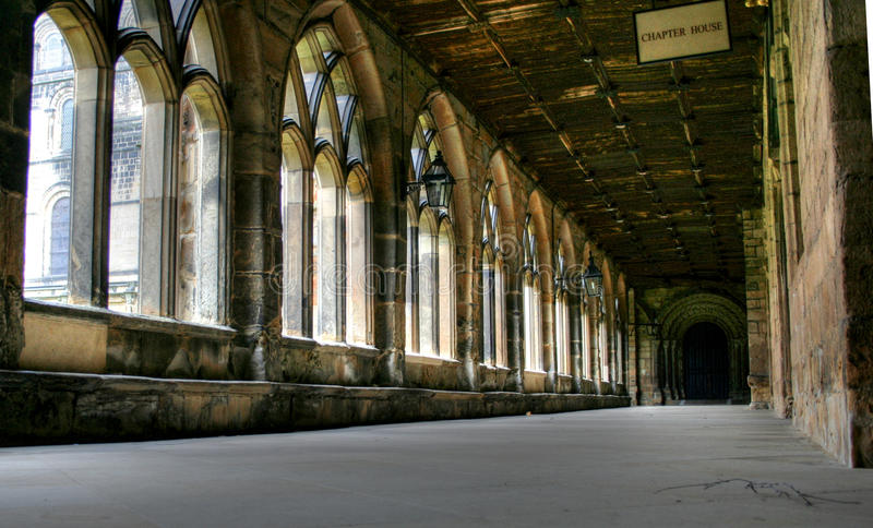 Durham Cathedral Cloisters. Taken inside the corridors or cloisters of the ancient and historic Durham Cathedral royalty free stock photo
