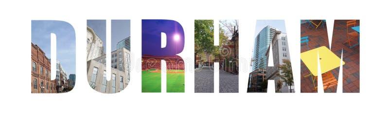 Durham NC baner på vit royaltyfri bild
