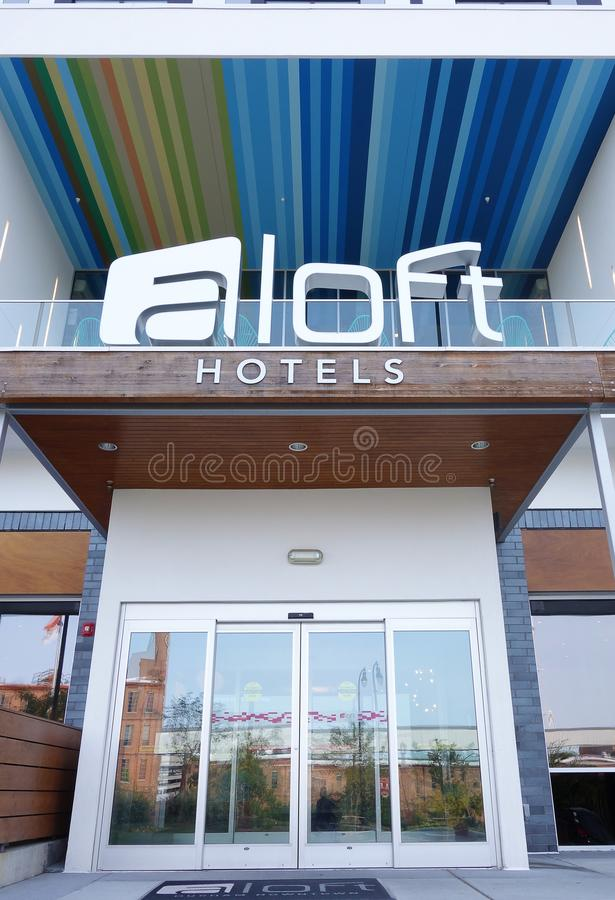 Free DURHAM,NC/USA - 10-23-2018: Entrance To The Aloft Boutique Hotel Royalty Free Stock Photography - 130725407