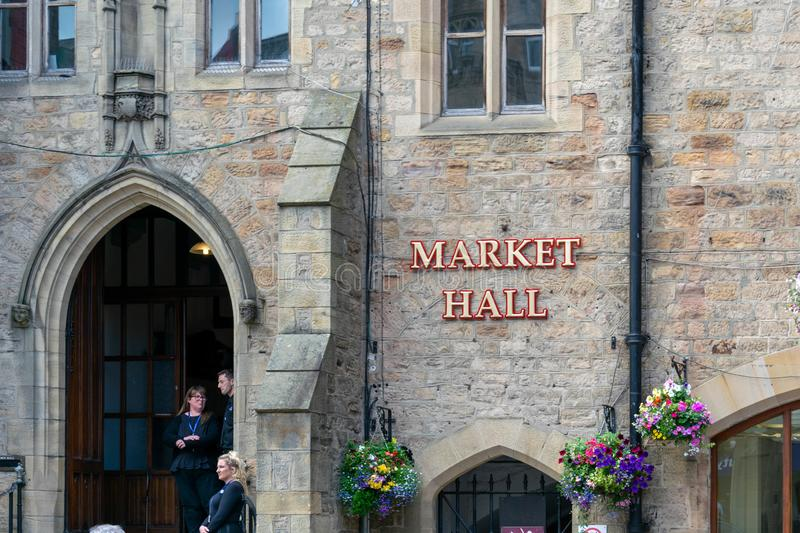 Durham`s Market Hall is the beating heart of Durham, with over 50 independent traders offering a wide range of foods. Durham, UK - 14th July 2019: Durham`s royalty free stock photo