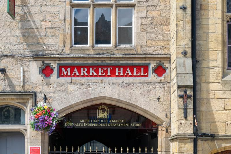 Durham`s Market Hall is the beating heart of Durham, with over 50 independent traders offering a wide range of foods and services. Durham, UK - 14th July 2019 stock photography