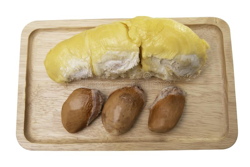 Durian και σπόροι στα ξύλινα πιάτα στοκ φωτογραφία με δικαίωμα ελεύθερης χρήσης