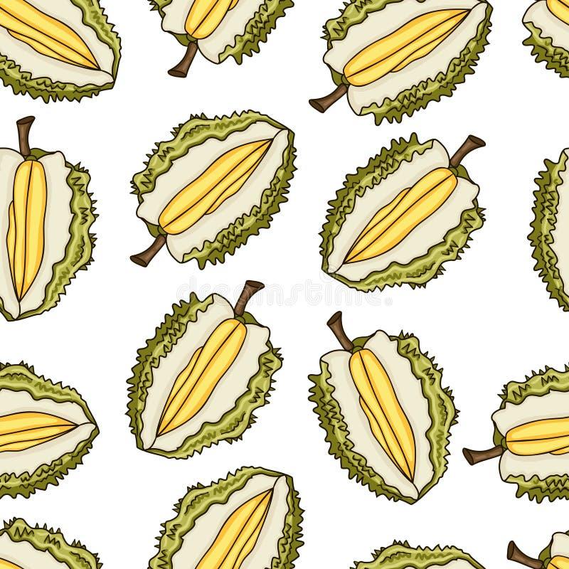 Durian Bezszwowy wzór Kolekcja Egzotyczne owoc ilustracji