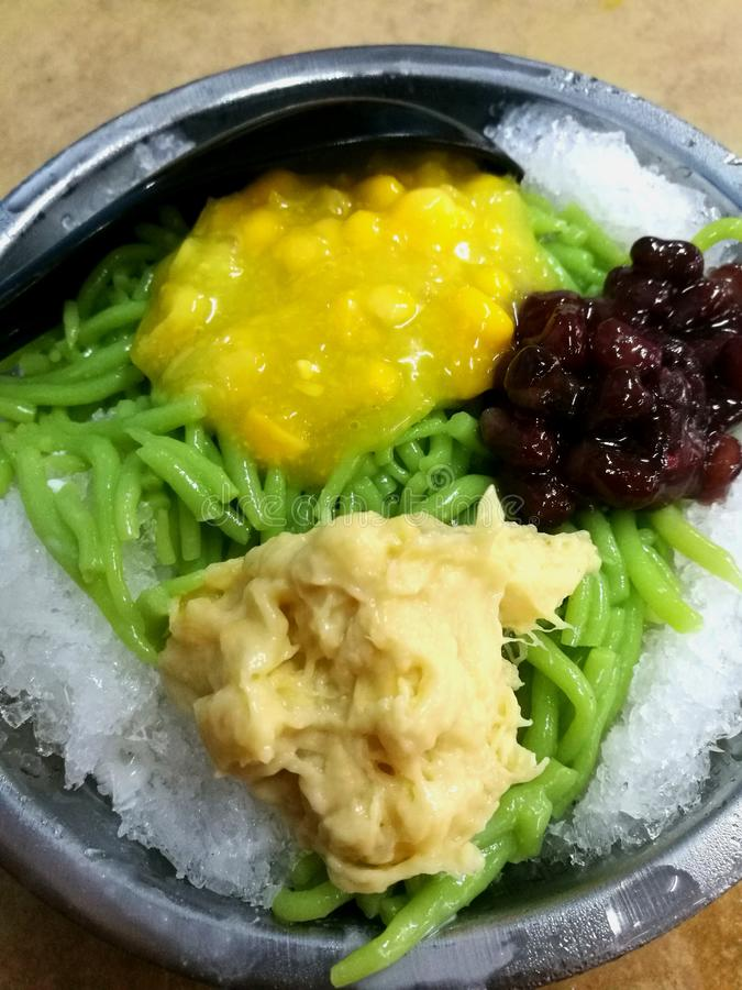 Durian cendol. With corn and red bean on ice royalty free stock image