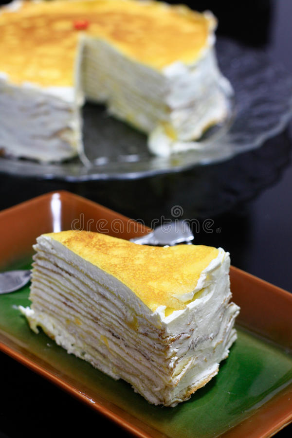Durian crepe layer cake. Crepe cake with durian flavor cream cheese fillings stock photos