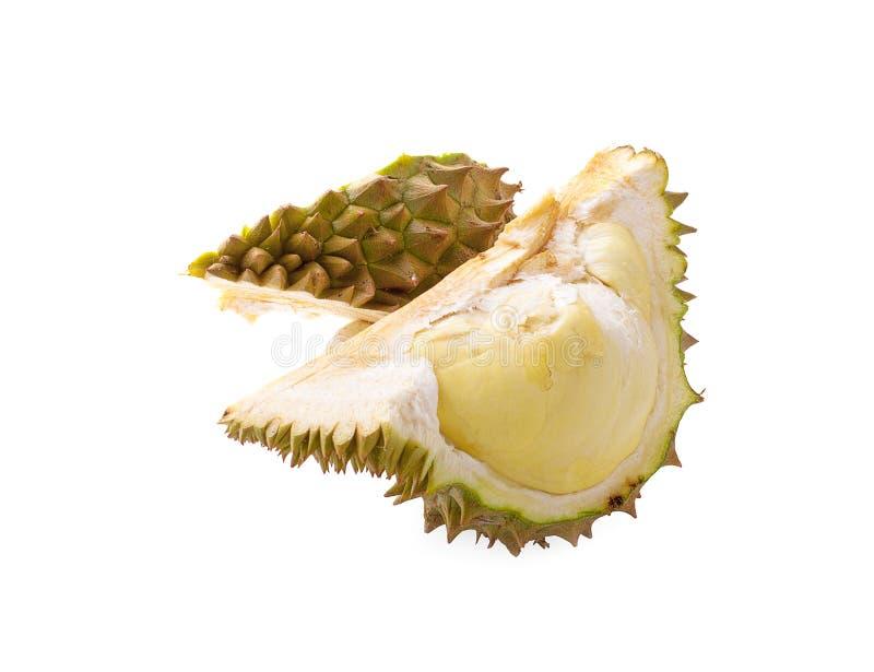 Durian et peaux de durian d'isolement dans le durian et d'isolement sur le fond blanc photo libre de droits