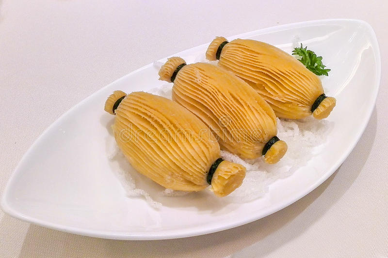 Durian flaky pastry Chinese food (niu lian su) royalty free stock image