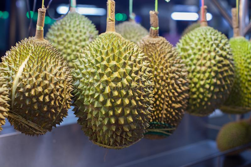 Durian fruit for sale. At a night food court in Kuala Lumpur, Malaysia stock photography