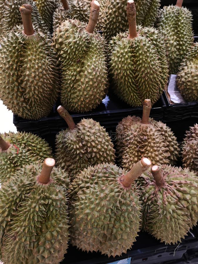 Durian fruit of Thailand sell in supermarkets stock photos