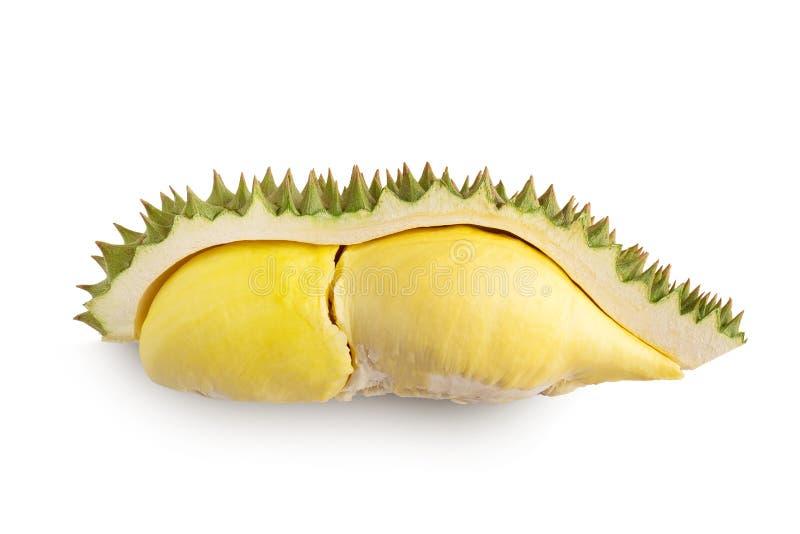 Durian i durian łupy na białym tle obrazy stock