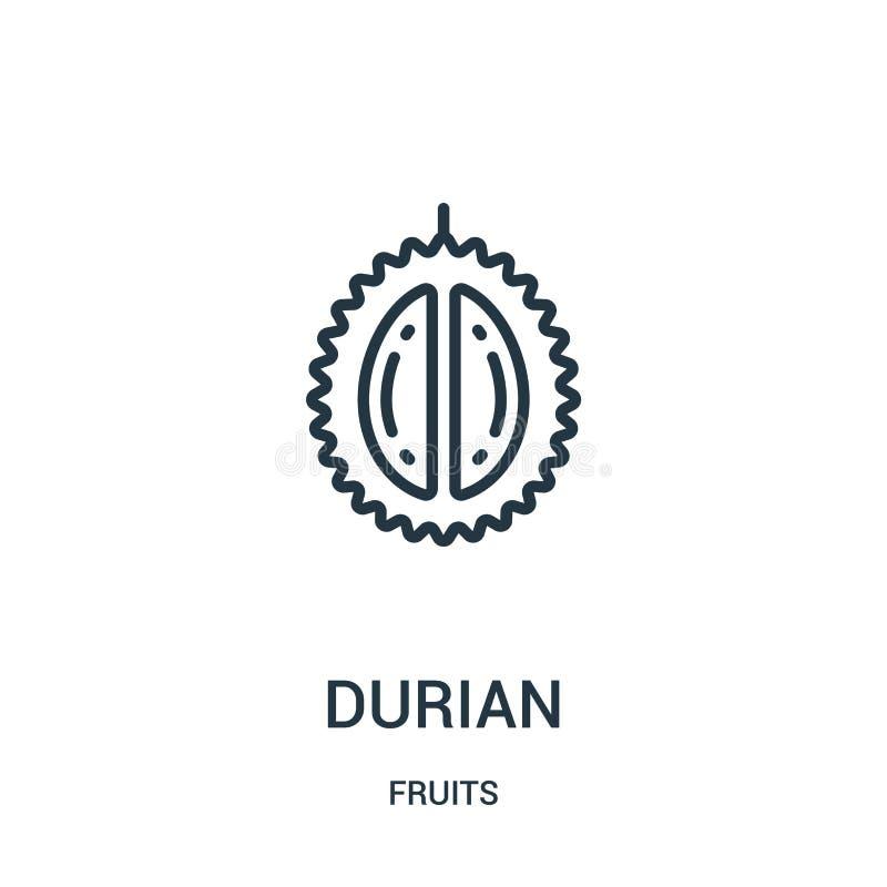 durian ikony wektor od owoc inkasowych Cienka kreskowa durian konturu ikony wektoru ilustracja Liniowy symbol dla używa na sieci  royalty ilustracja