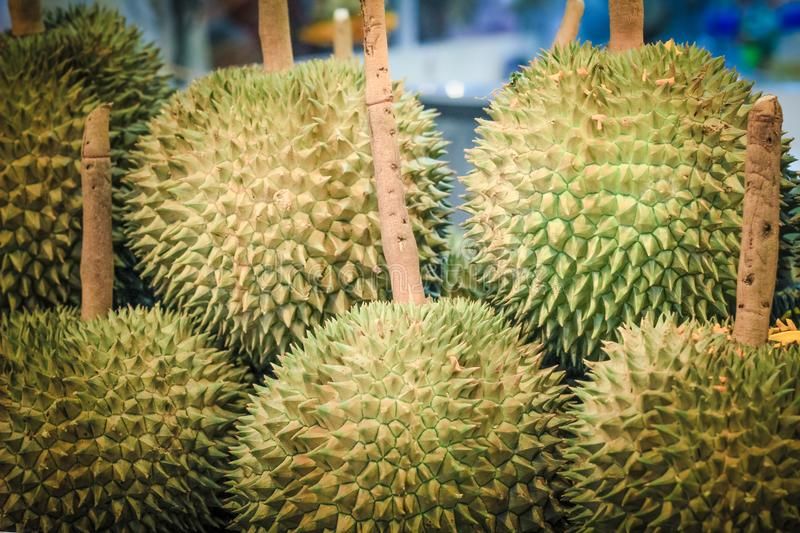 Durian King of fruit. Golden Durian King of fruit sale in market royalty free stock photos