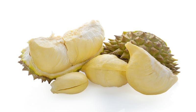 Durian konung av frukter som isoleras på vit bakgrund royaltyfria foton