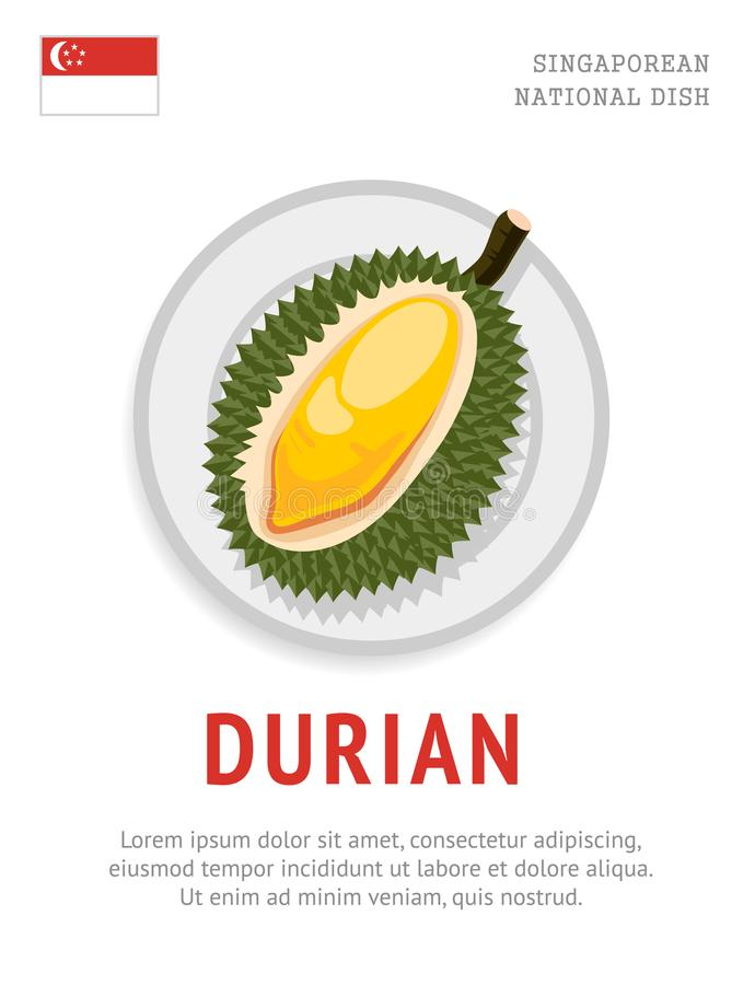 Durian Krajowy singapurski jedzenie ilustracja wektor
