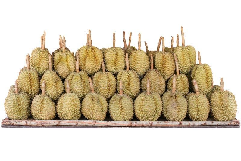 Durian owoc układająca na drewnianej półce odizolowywał białego tło obrazy stock