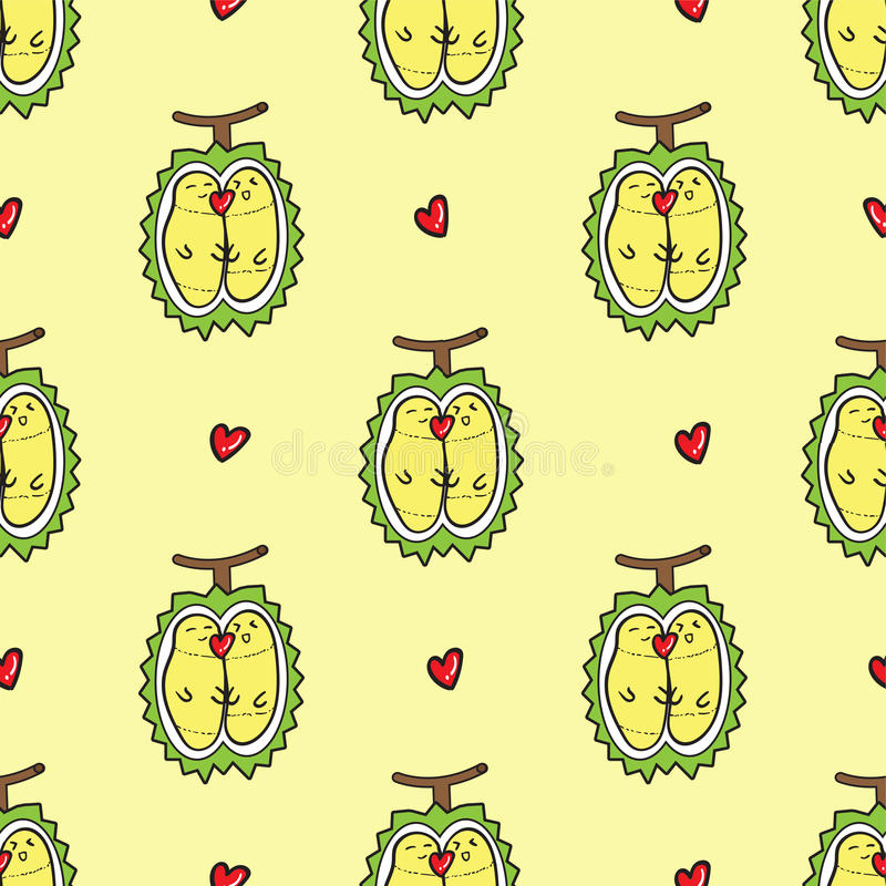 DURIAN pattern seamless.thailand king of fruits DURIAN cartoon c stock photography