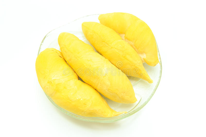 Durian in piatto su fondo bianco immagine stock