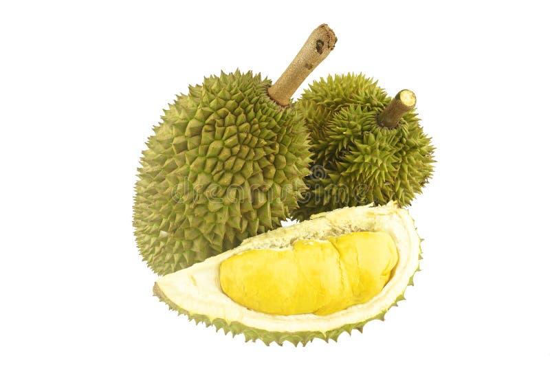 Durian reif und Teil lokalisiert stockfotos