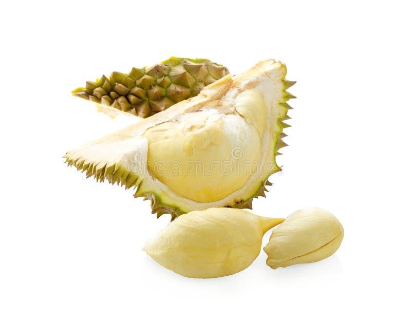 Durian som isoleras på vitt med urklippbanan fotografering för bildbyråer