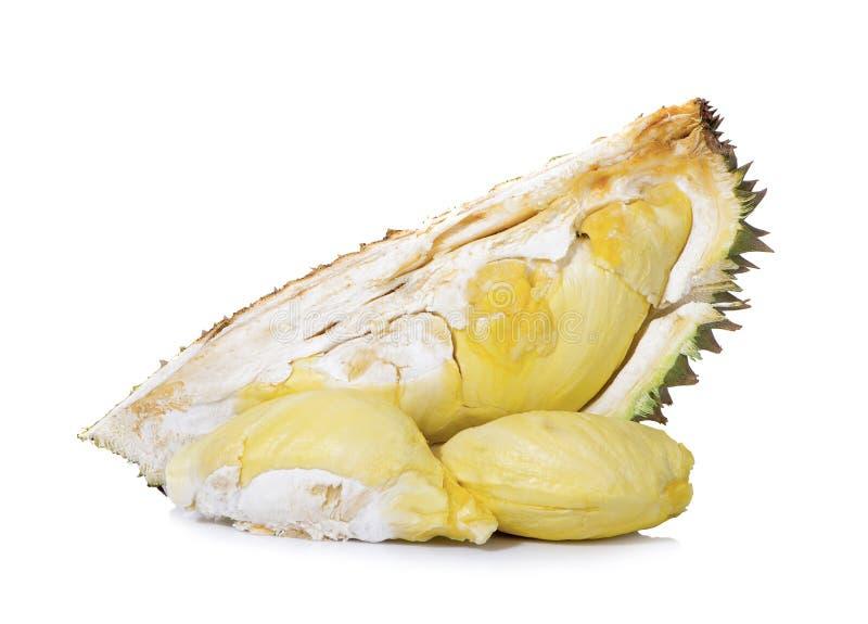 Durianen och durianen skalar isolerat från durianen och isolerat på vit bakgrund arkivfoton