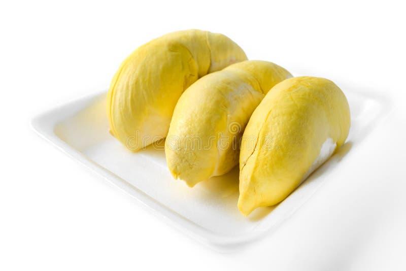 Durianfruit in dienblad royalty-vrije stock afbeeldingen