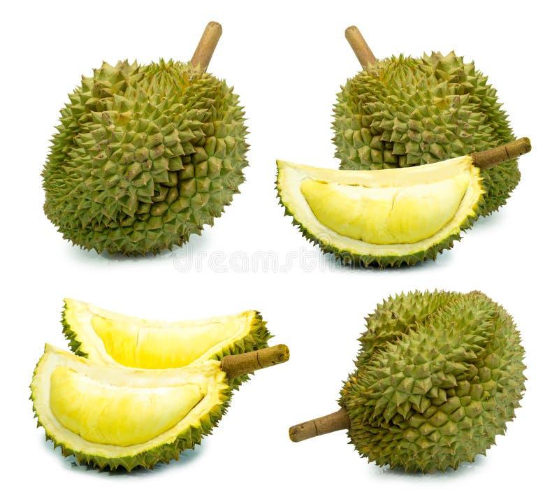 Durianfruit op een wit achtergrond durain koningsfruit wordt geïsoleerd van Thailand dat royalty-vrije stock afbeelding