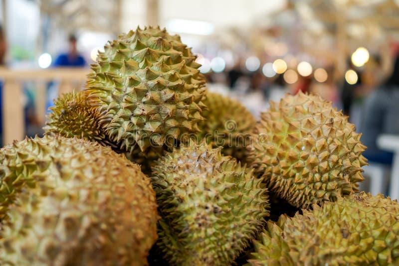Durianfruit in straatvoedsel Thailand stock fotografie