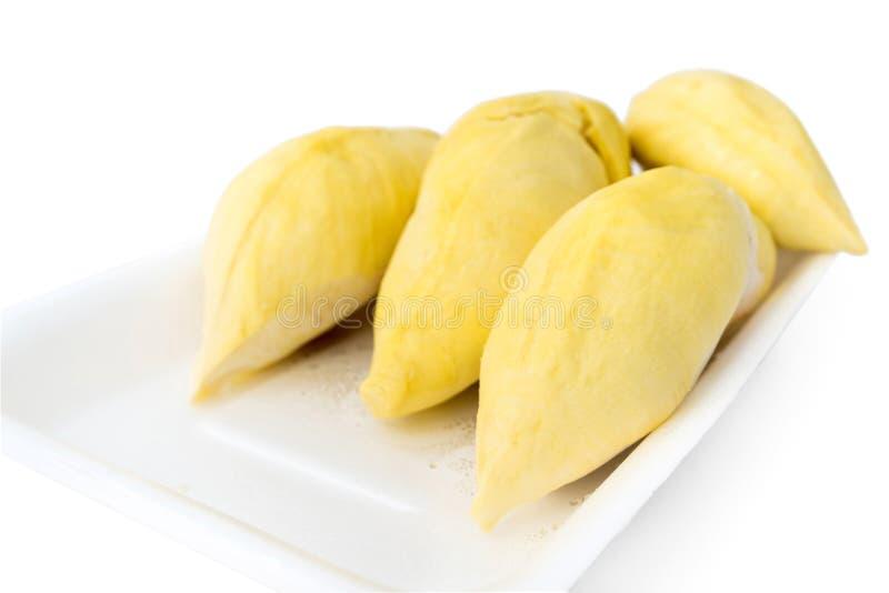 Durians in ingepakt schuimdienblad stock foto