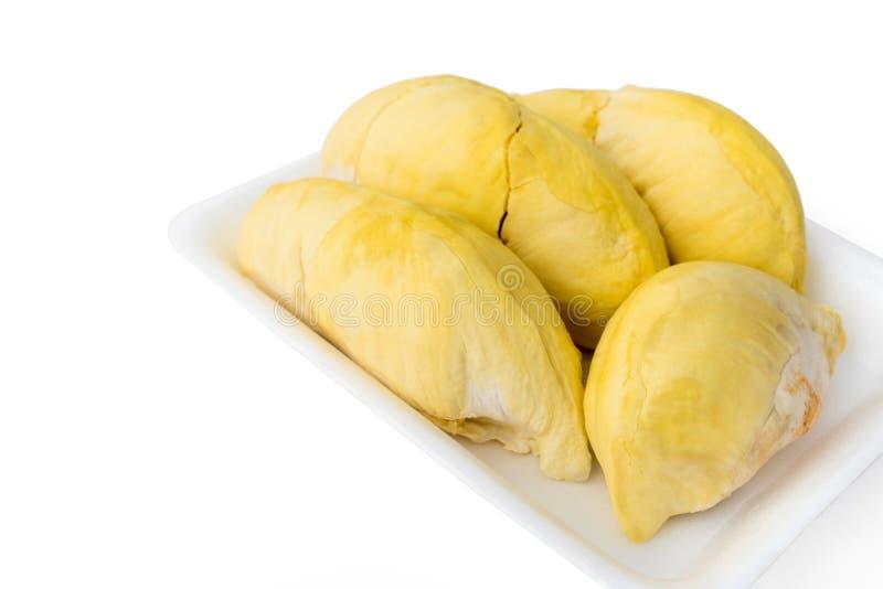 Durians in ingepakt schuimdienblad royalty-vrije stock afbeelding
