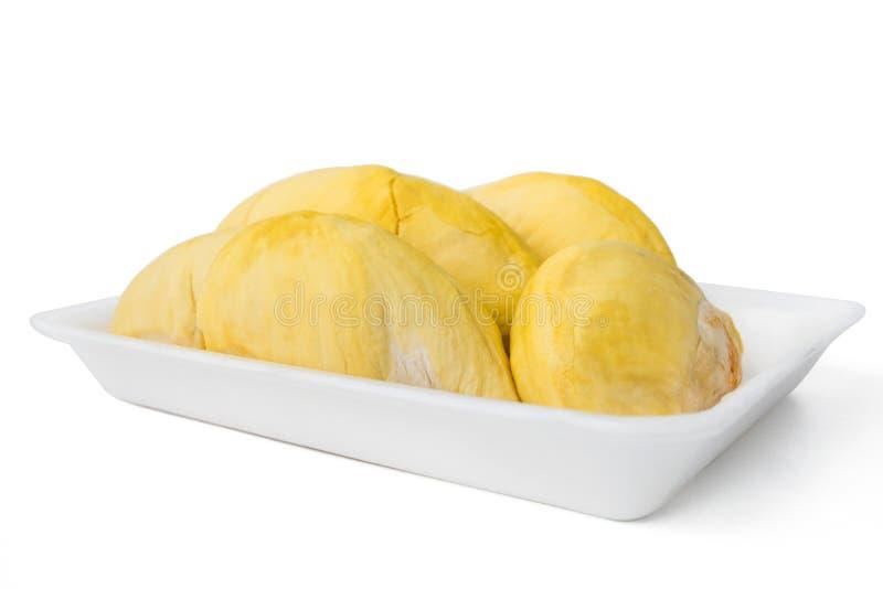 Durians op ingepakt schuimdienblad stock foto's