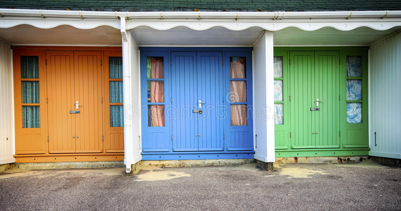 Durley Chine Beach Huts fotos de stock royalty free